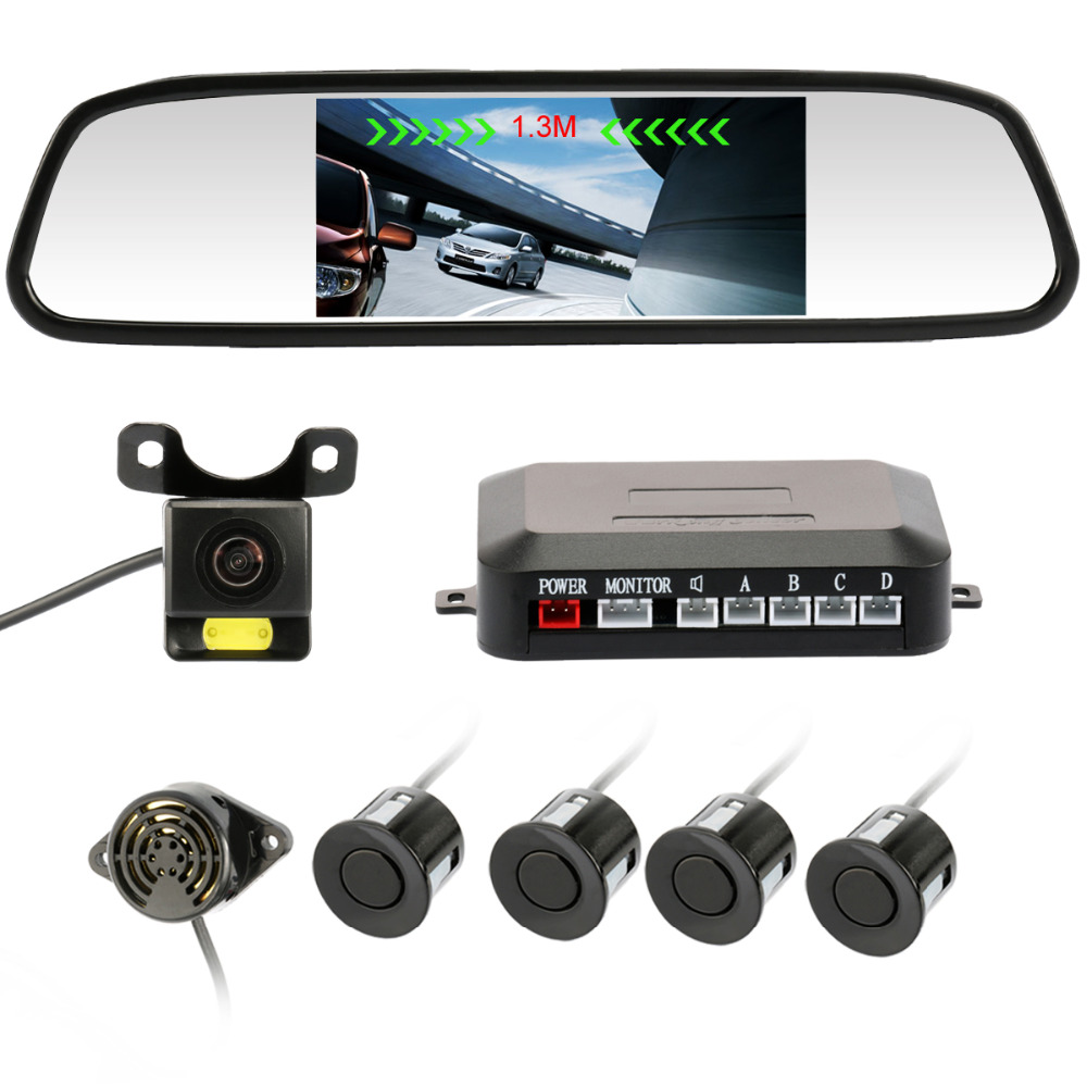 ФОТО Car parking system 4 Parking Sensor with 4.3 inch Car Mirror Monitor and Night Vision Rear View Camera