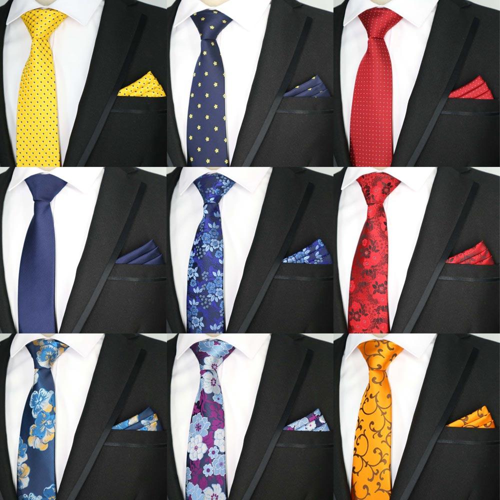 35 Colors Men Tie Set Classic Polyester Silk Party Wedding Floral Stripes Dot Ties Handkerchief Sets Pocket Square Necktie Set