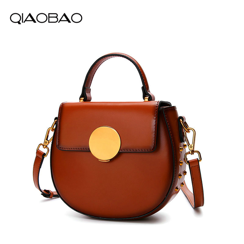 QIAOBAO 2018 New Messenger Bag Genuine leather Bag Female Korean Wild Shoulder Flap Bag Handbag Saddle bag Lady Small Tote