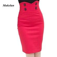 Размера плюс, модные женские офисные короткие юбки с высокой талией, женские летние Сексуальные облегающие Облегающие юбки, красные, черные
