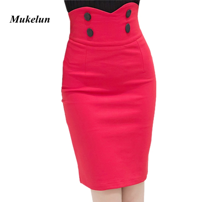 2018 Plus Size Fashion Lady Office hoge taille korte rokken Womens zomer Sexy Pencil Bandage Bodycon rokken rood zwart