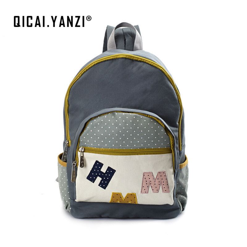 QICAI YANZI Canvas Letter Laptop Backpacks Teens Girls Boys Dot Schoolbags Casual Book Mochila Travel Unique