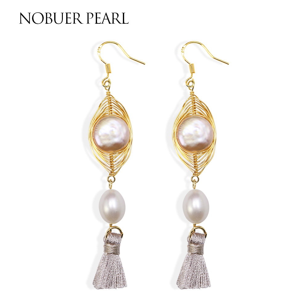 Nobuer S925 Silver Handmade Tassel Style Natural Freshwater Pearl Drop Earring Long Earrings Hanging Fin e Jewelry For Women nobuer 14kgf handmade pearl drop earrings trendy women long earrings jewelry white round pearl drop earrings hanging to a party