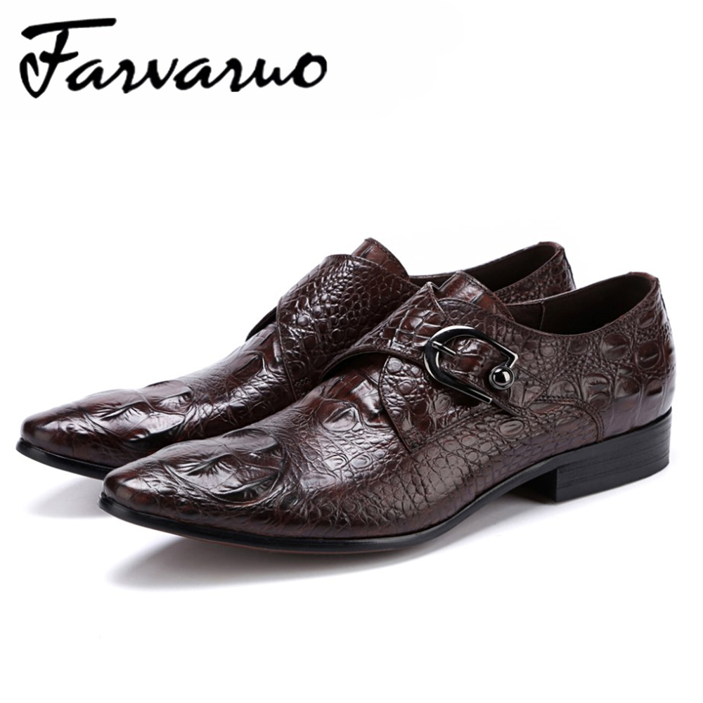 d4317a24cb6 Farvarwo Crocodile D affaires Chaussures Hommes Véritable Vache En Cuir  Formelle Oxford Chaussures Hommes Bout Pointu De Mariage Robe Moine En  Métal Plus La ...