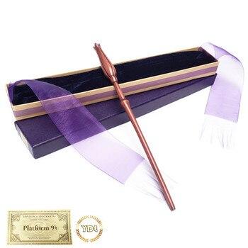 Luna Lutips Metal/núcleo de hierro HP varita mágica Hermione elegante caja con listón embalaje Cosplay regalo de Navidad con billete de tren
