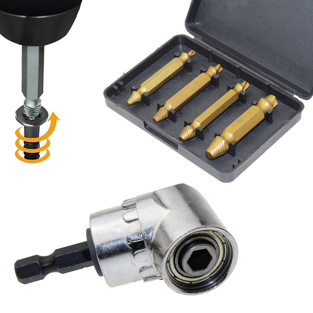 Leoboone 1//4 Inch 105 Degree Adjustable Hexbit Angle Driver Electric Screwdriver Magnetic Bit Wrench Hex Bit Drive Offset Attachment