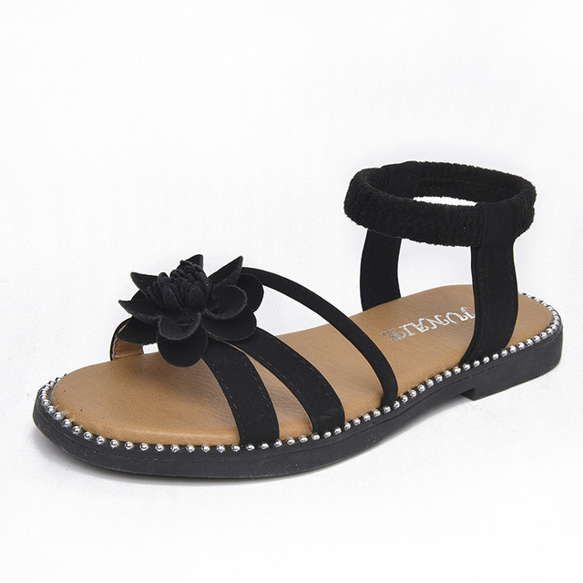 81a7eb87c56b8c Comfy kids Fashion Flower Ankle-Wrap Girls Sandals Shoes Flat With Casual  Girls Beach Sandals Bowtie Princess Girls Slides Shoes