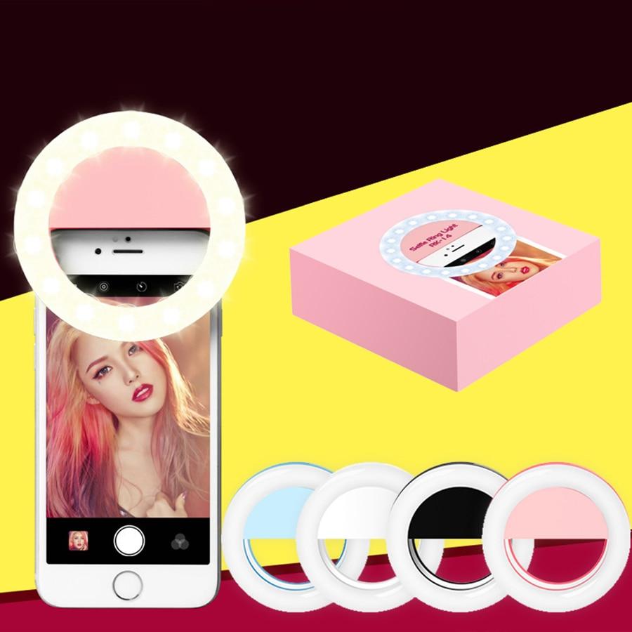 Chegada nova Universal Selfie LEVOU Clipe de Flash de Preenchimento de Luz Anel de Luz do Flash Recarregável Selfie Portátil para Telefones Android iPhone