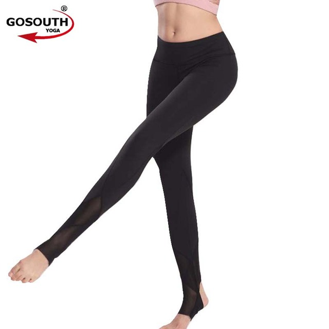 f62cbd5b5475e0 Women Mesh patchwork Stirrup Legging High Waist foot Quick Dry Elastic Yoga Pants  Sport Fitness Running Sportswear G-135