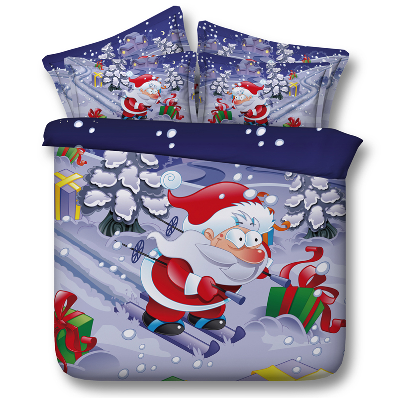 Hot Santa Claus Bedding Sets Twin Full Queen Super Cal King Size Bed Bedspread Comforter Duvet Cover Christmas Skiing Blue Color