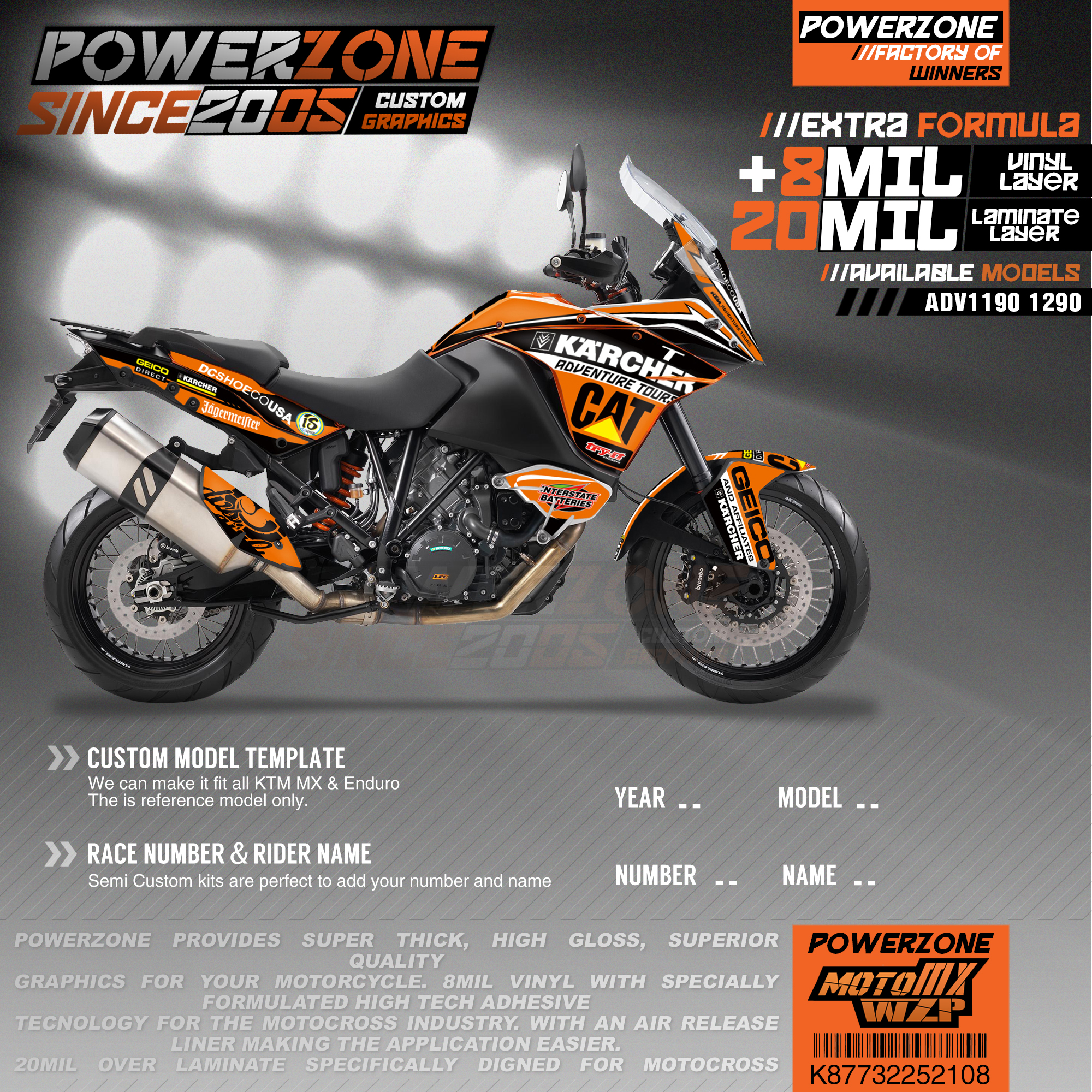 PowerZone Custom Team Graphics Backgrounds Decals 3M Stickers Kit For KTM ADV 1050 1090 1190 1290 108