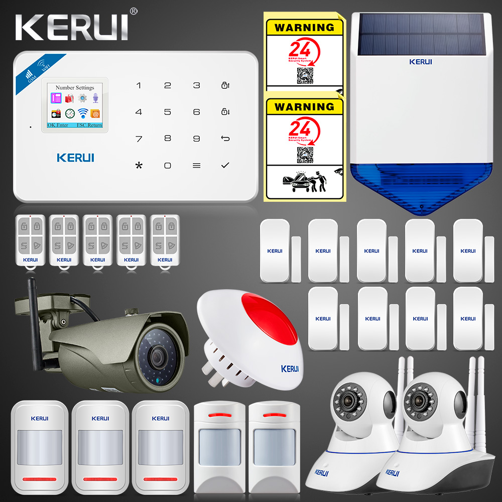 2019 Updated W18 WIFI GSM SMS APP Home Burglar LCD GSM SMS Touch Screen Alarm Panel Home Security Alarm System IP Wifi Camera