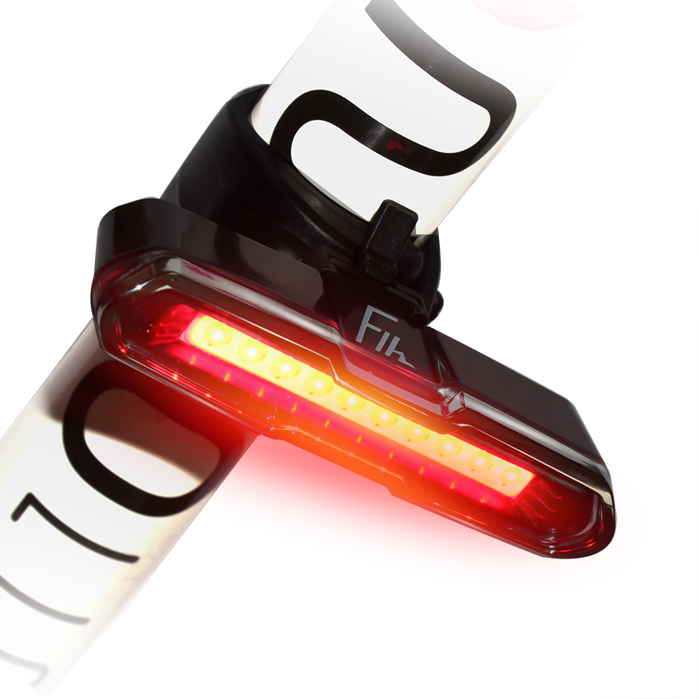 USB Rechargeable Bike Bicycle Cycling Safety Rear Tail Flashing Light with Strap