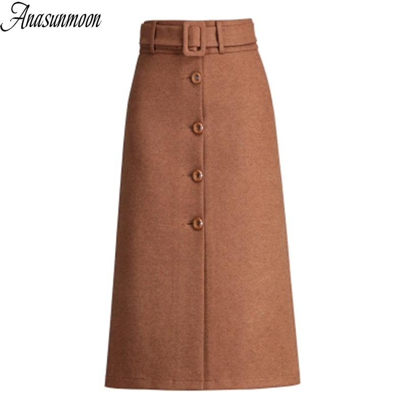 Maxi Skirts Wool Winter Vintage Autumn High-Waist Womens Warm And Faldas Saia