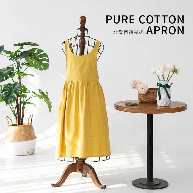 חדש נורדי רוח קפלים חצאית מטבח סינר לאישה כותנה פשתן בישול סינר מטבח קפה פרח חנויות סרבל