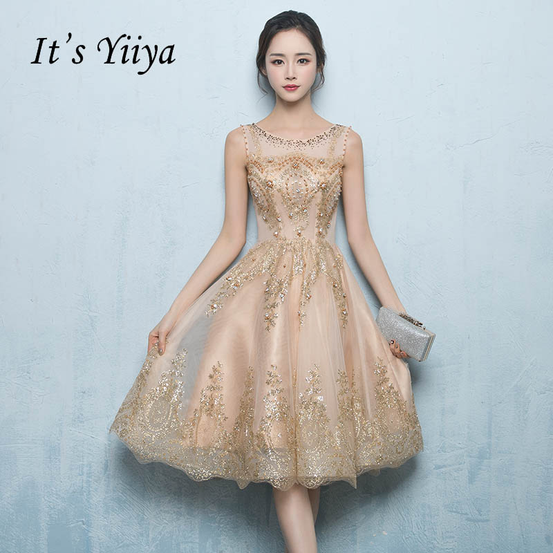 Это yiiya Иллюзия Бисер Bilng блестками рукавов Кружева коктейльное платье по колено торжественное платье вечерние платье LX186