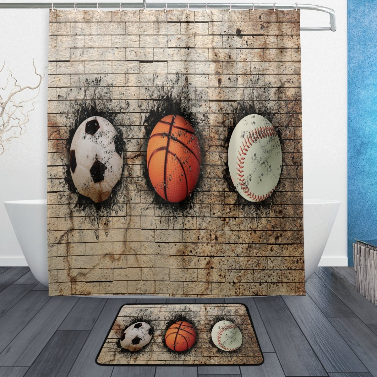 Soccer Basketball Baseball into Wall Waterproof Polyester Fabric Shower Curtain with Hooks Doormat Bath Floor Mat Bathroom Home