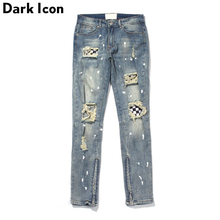 Dark Icon Ripped Plaid Patch Jeans Men High Street Ankle Zipper Mens Regular Style Destroyed Denim Pants