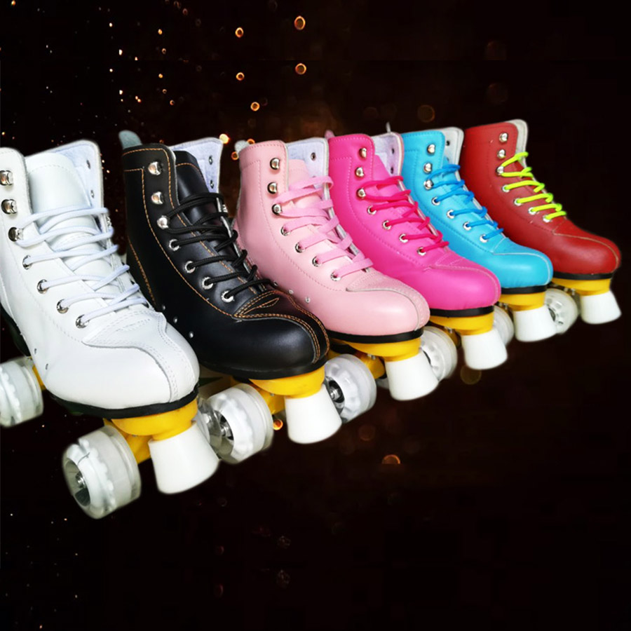 Japy Geneniu Leather Roller Skates Double Line Skates 6 Colors Women Lady Adult White PU 4 Wheels Two Line Skating Shoes Patines eur size 20 30 adjustable children roller skates 2 colors double row 4 wheels skating shoes kids two line toy patines gifts car