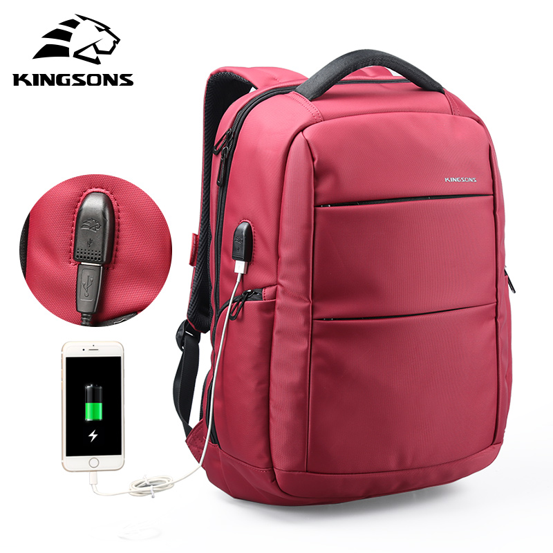 Kingsons Esterno di Ricarica USB Funzione di Scuola Zaino Anti-furto del Ragazzo della ragazza Dayback Donne Borsa Da Viaggio 15.6 pollice
