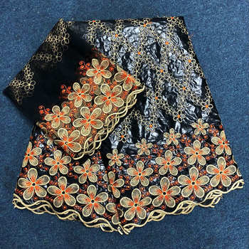 New Black + Orange African Lace Fabric 2018 New African Bazin Riche Fabric High Quality Bazin Riche Getzner With Pearls For Wome