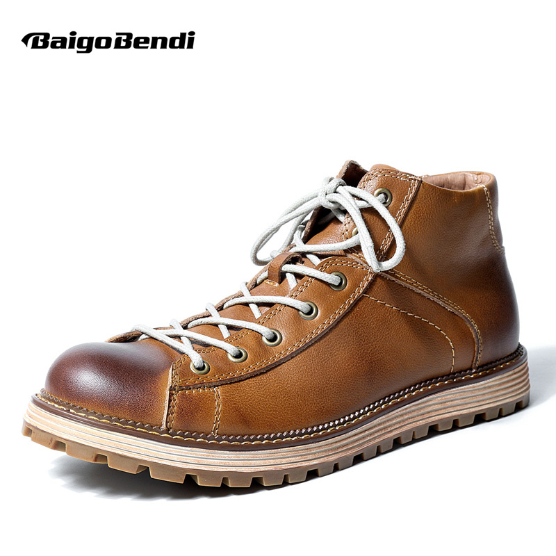 купить Hight Quality Mens Round Toe Genuine Leather Lace Up Martin Boots Winter Work Safety Casual Oxford Desert Boots по цене 5243.29 рублей