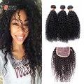 Kinky Curly Lace Closure With Bundles Brazilian Virgin Hair 7A Grade Human Hair Kinky Curly 4 Bundles With Closure