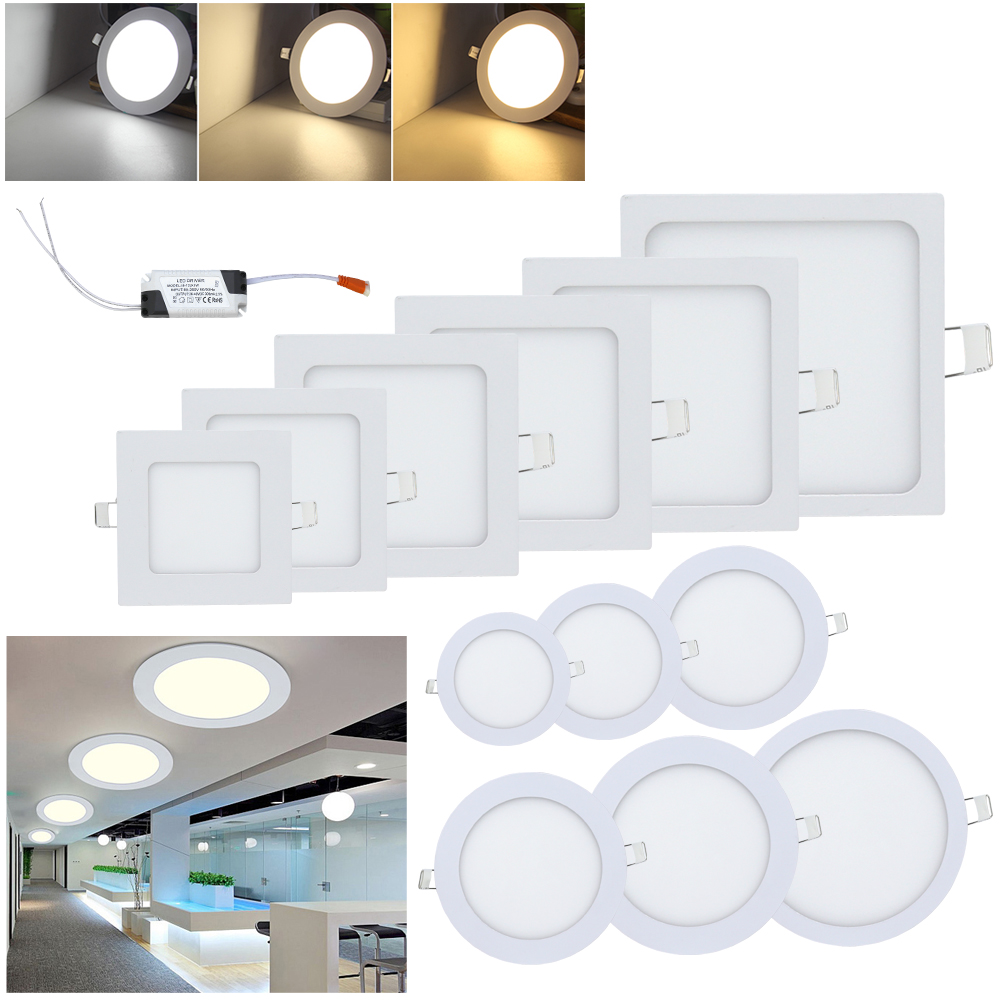 Ultra Thin 3W/6W/9W/12W/18W/24W LED Panel Light Round Square downlight Indoor Bathroom Kitchen Living Room