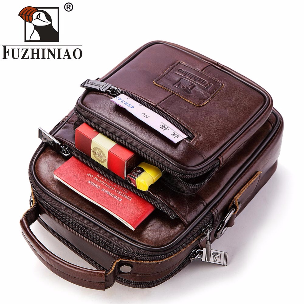 FUZHINIAO Famous Brand High Quality Genuine Leather Men Messenger Bags Fashion Casual Men Business Crossbody Bags