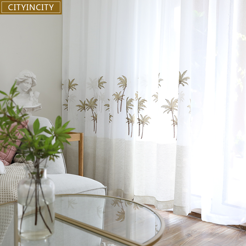 CITYINCITY white Curtain For Living room Tropical style Tulle Embroidered Home Decor soft Faux linen Curtains