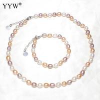 2018 Naturel de Culture D'eau Douce Perle Ensembles de Bijoux Bracelet Collier Riz Forme Charme Bracelet Collier Pour Femme Désherbage Parti