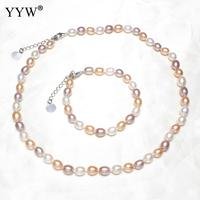 2018 Natural Cultured Freshwater Pearl Jewelry Sets Bracelet Necklace Rice Shape Charm Bracelet Necklace For Woman