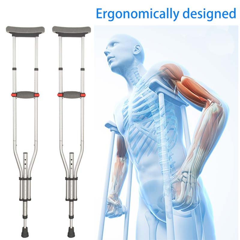 Adjustable Height Axillary Crutches Underarm Walking Old Man Multifunctional Crutch Scalable Rod Folding CCP014