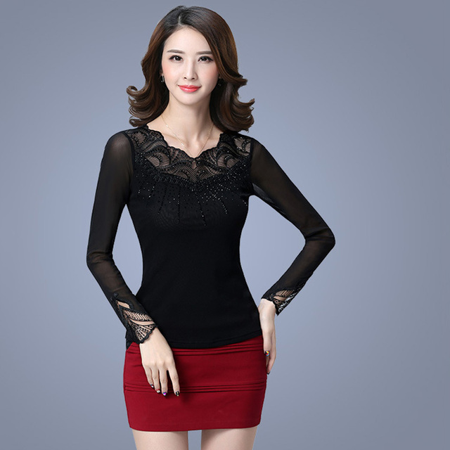Korean style plus size lace shirts women fashion sexy hollow out embroidery grenadine T-shirt  full length sleeve girl tees E331
