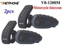 2 шт. Vnetphone V8 мотоциклетный шлем домофон NFC удаленной Управление Переговорные Гарнитуры Bluetooth 5 Rider 1200 м полный дуплекс говорить