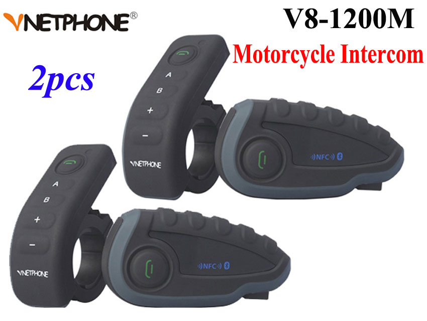 2 pz Vnetphone V8 Casco Del Motociclo Citofono NFC Telecomando Bluetooth Interphone Headset 5 Rider 1200 M Full duplex a parlare