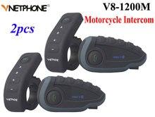Vnetphone V8 oreillette Bluetooth pour moto, appareil de communication NFC avec télécommande, kit mains libres portée 1200M, kit mains libres entièrement duplex, 2 pièces