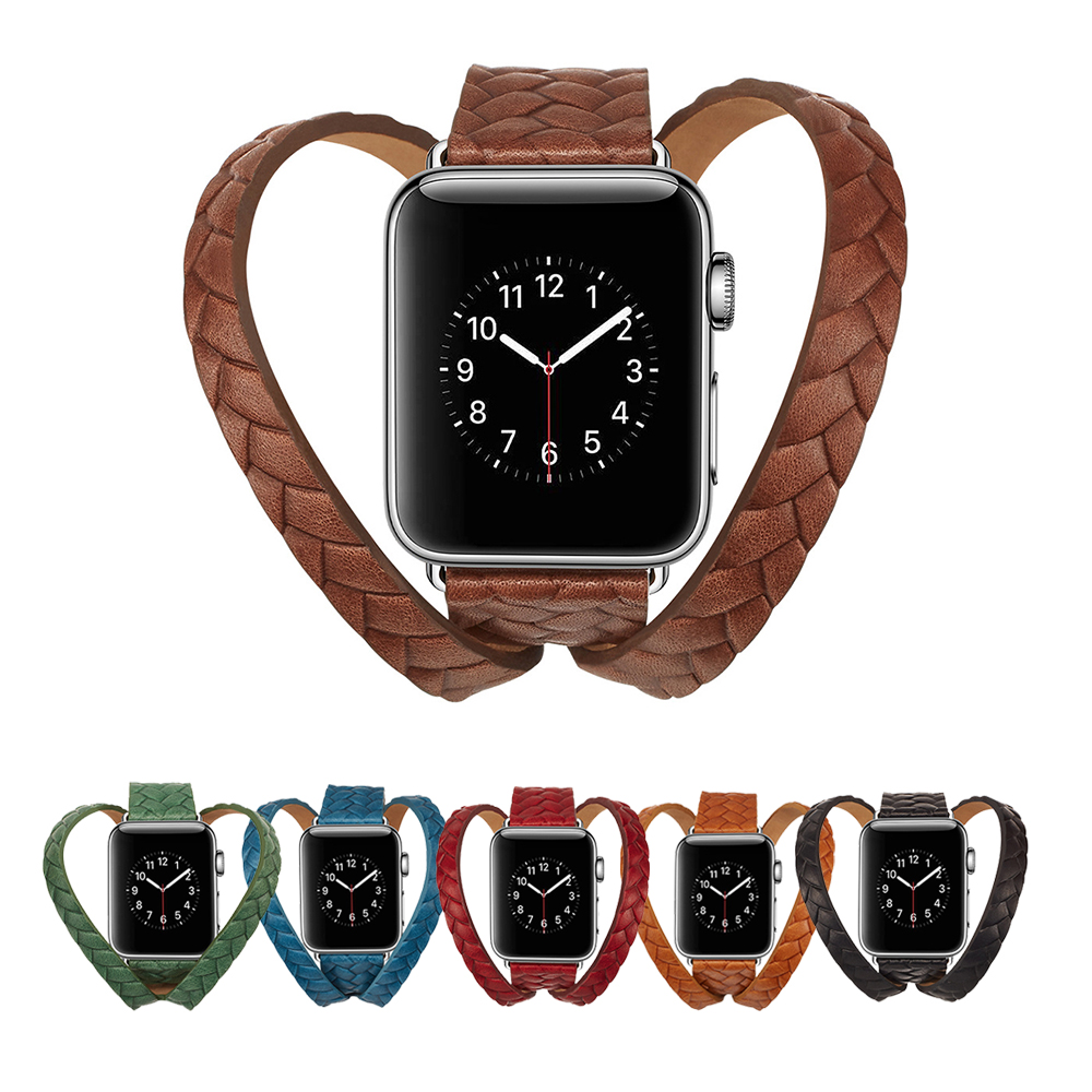 New Luxury Bracelet Belt Band for Apple Watch Strap 38mm 42mm Series 1 2 3 Double Loop Genuine Leather Strap for Iwatch Bands цена и фото