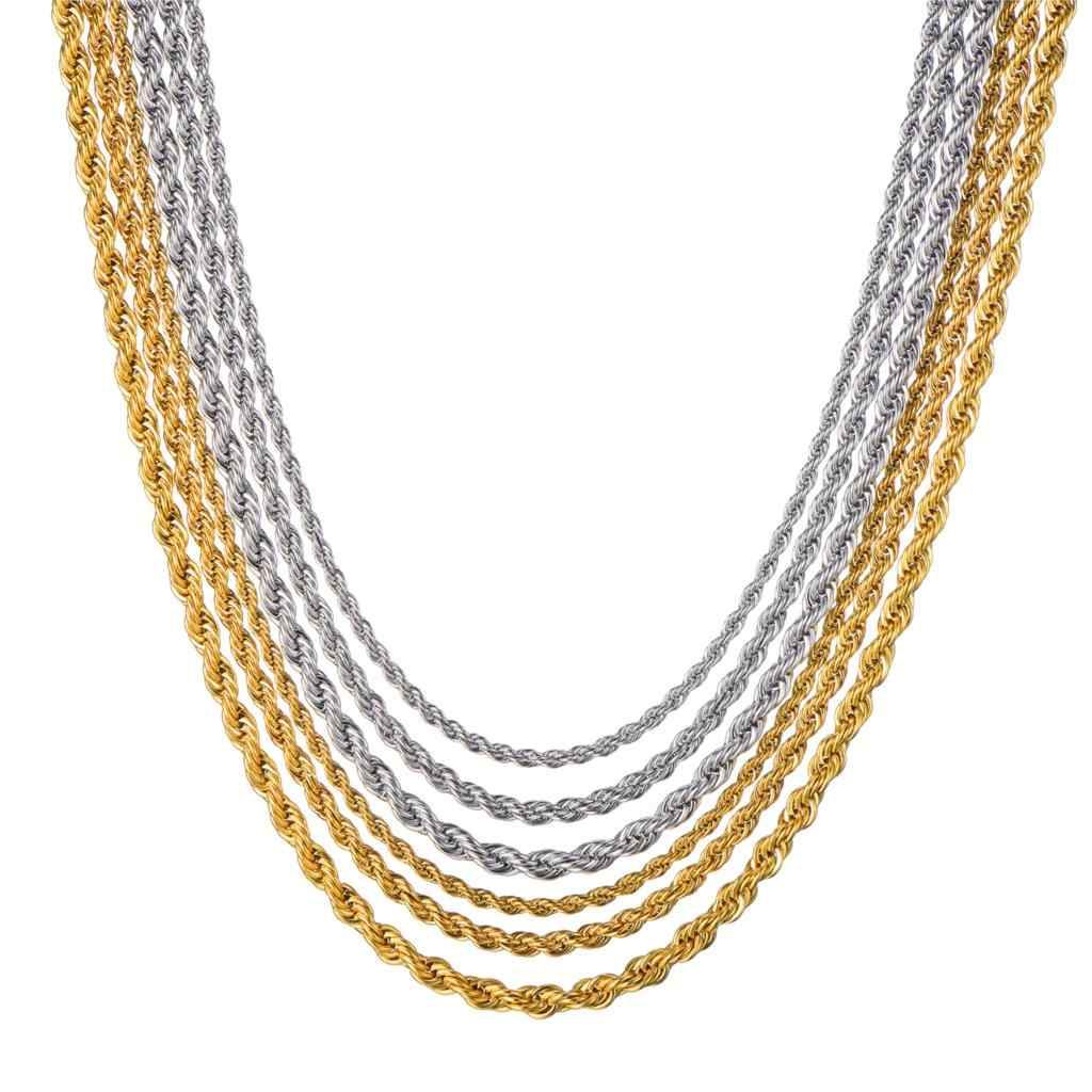 HIP Hop Gold 316L Stainless Steel Necklace Men Rope Chain Twisted Necklaces For Women Men Jewelry