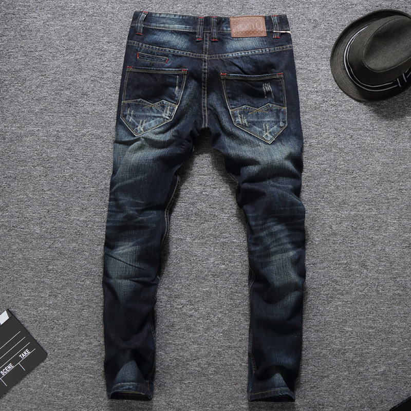 Italian Style  lim Fit Dark Destroyed Ripped Jeans  1