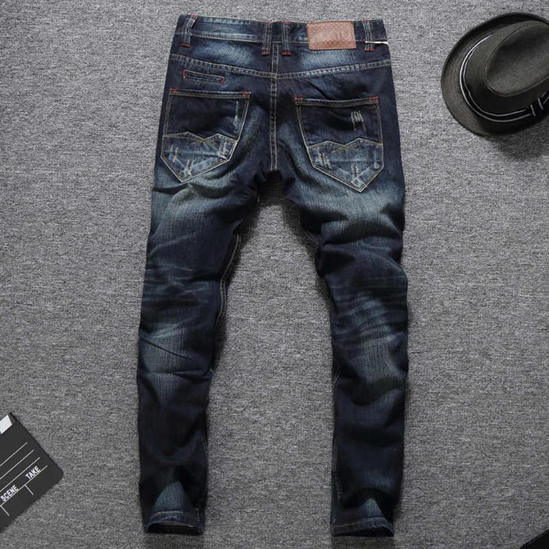 Итальянский Стиль модные Для мужчин джинсы Slim Fit темно-голубой цвет уничтожены Рваные джинсы Homme Balplein брендовые джинсы Для мужчин двигателя байкерские джинсы