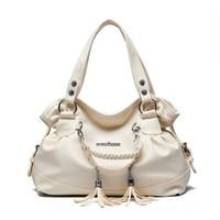 Hobo fashion Korean fringed shoulder bag candy color ladies soft leather handbag brand designer messenger bag large capacity sac