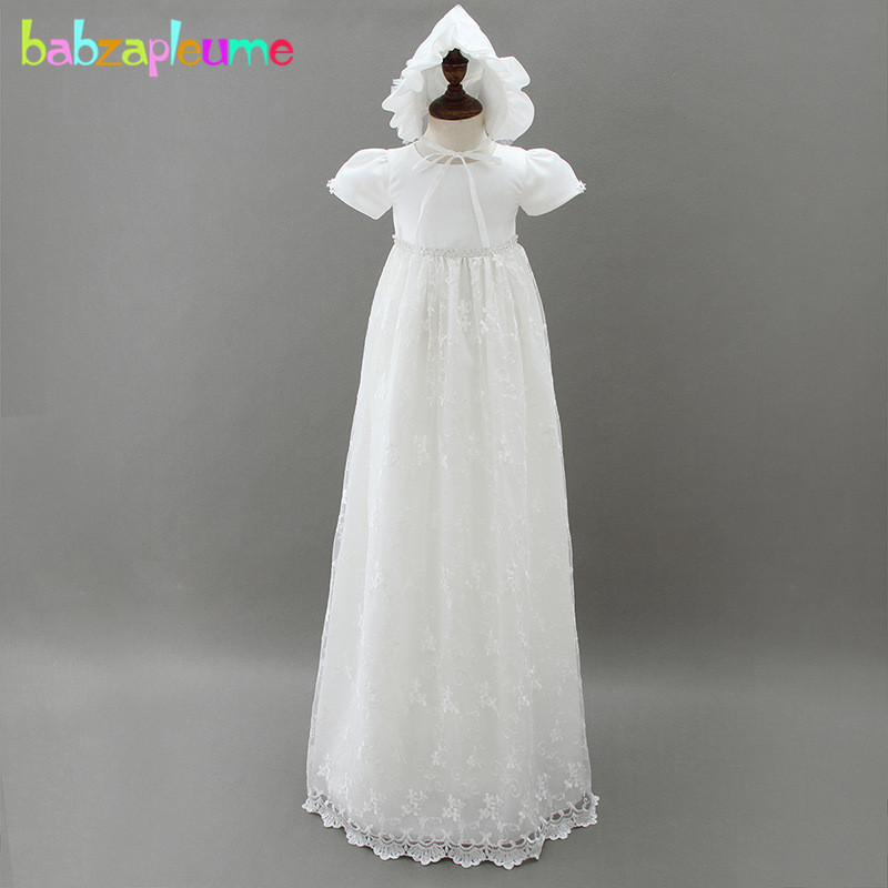 3 6 9 12Months/Girls Princess Lace Long Dress Wedding Christening 2018 New Summer Vintage Baby Clothes Newborn Dresses BC1678 1