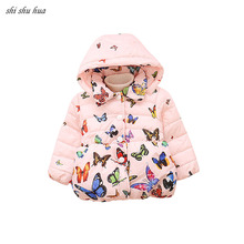Roupas Infantis Girl Clothes Winter Hooded Coat Jacket Cartoon Printing Thickening Warm Cotton Coat1-4 Y Child Quality Clothing kids clothing 2017 winter boys warm clothes child cartoon padded coat trousers suits girl sportswear high quality babys jacket