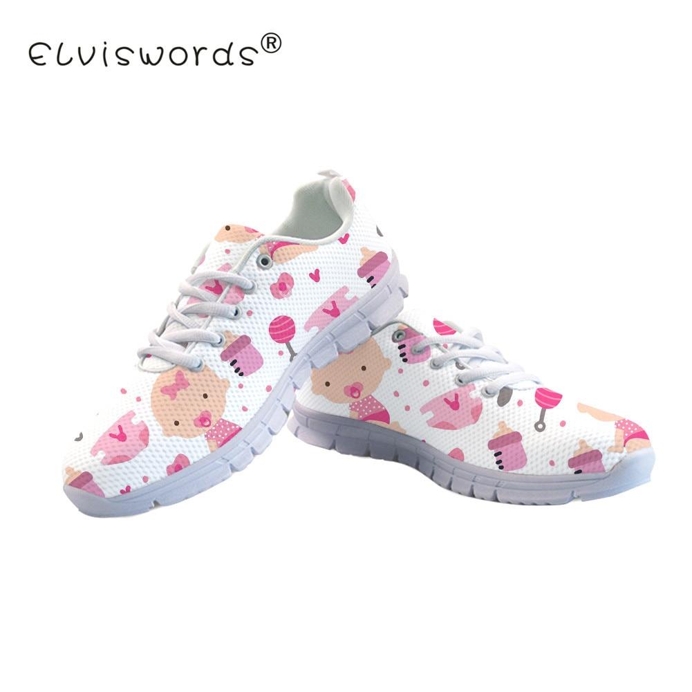ELVISWORDS Cute Baby Pattern Design Women Flat Shoes Mesh Comfortable White Girls Flats Sneakers Spring New