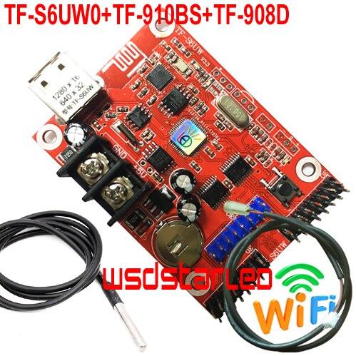 TF-S6UW0 + TF-910BS + TF-908D датчик яркости + датчик температуры USB + WIFI одноцветная и Двухцветная светодиодная карта контроллера P10