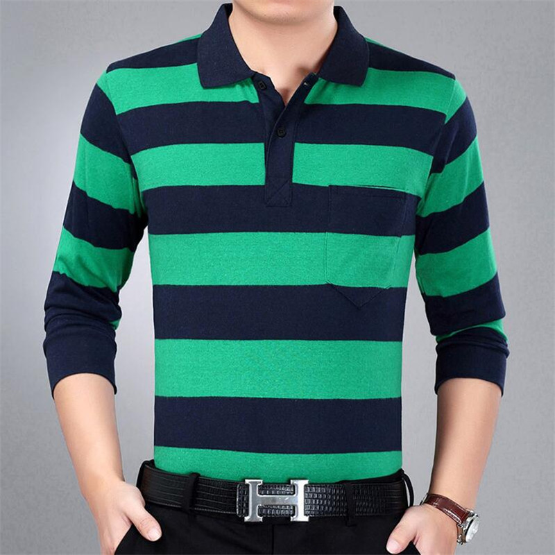2018 Casual Long Sleeve Business Mens Shirts Male Striped Fashion Brand   Polo   Shirt Designer Men Tenis   Polos   Camisa Social