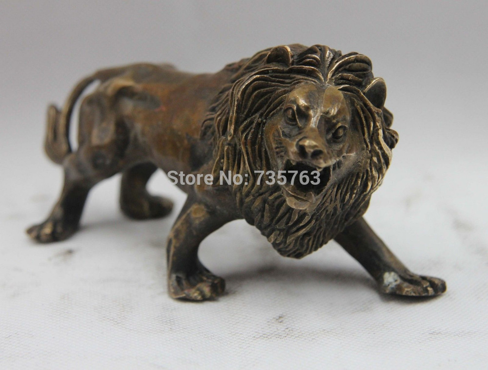 00682 Chinese Refined Copper Bronze Fengshui animal Ferocious Lion Beast Statue00682 Chinese Refined Copper Bronze Fengshui animal Ferocious Lion Beast Statue