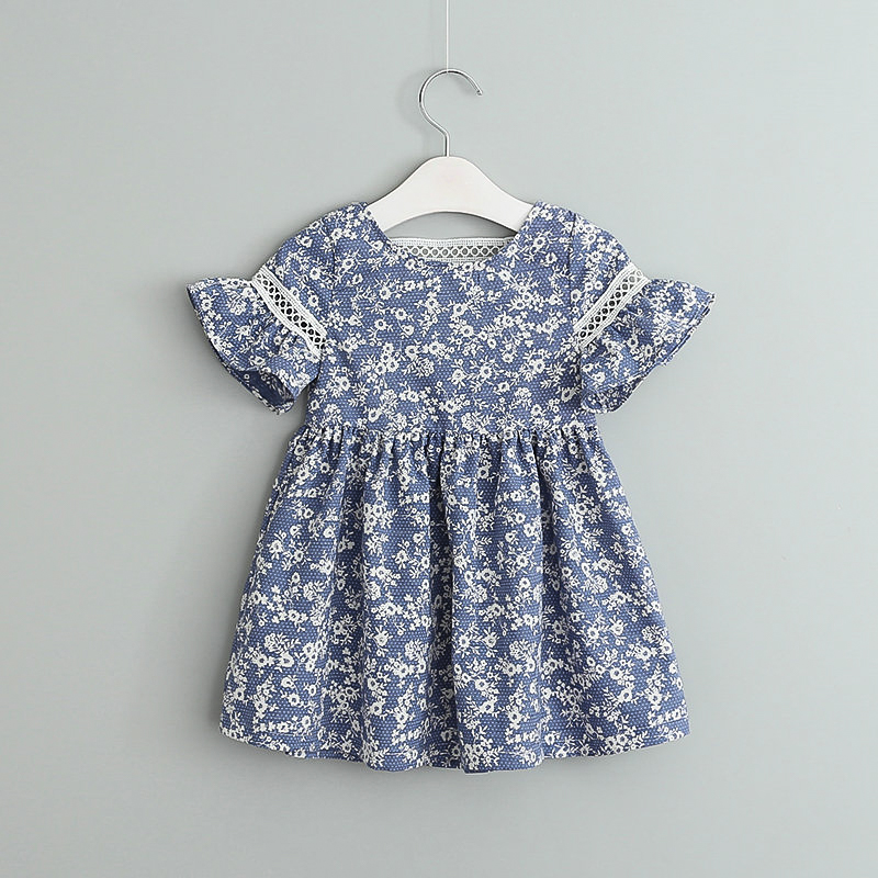 2017 Summer Baby Girl Dress Blue and White Porcelain Floral Hollow Hood Sleeve Dress Fashion Children Clothes 2-7Y