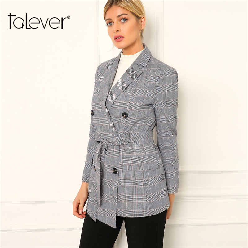 Ladies Autumn Lengthy Blazers Feminine Plaid Blazer Jacket Workplace Girl Slim Grey Lengthy Coat Ladies's Jacket Outwear Plus Sizes Talever